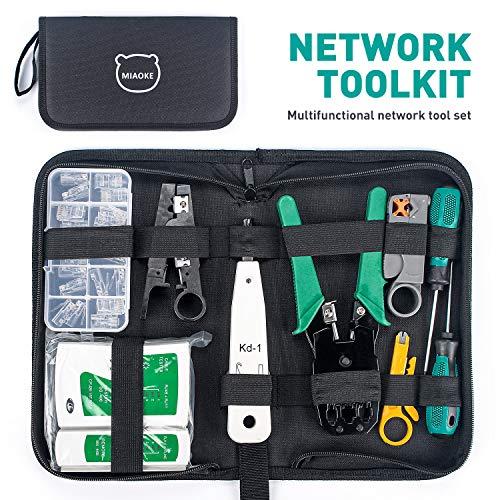 MIAOKE Netzwerk Werkzeug Set, Netzwerk Reparaturwerkzeuge mit Abisolierzange, Professionelles Netzwerk Kabeltester Kit für Haushalt, Fabrik & Computer Wartung inkl. LAN Kabel Tester