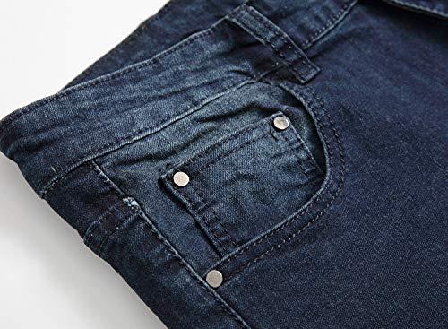 Men's Blue Skinny Jeans Stretch Washed Slim Fit Straight Basic Denim Pencil Pants 4