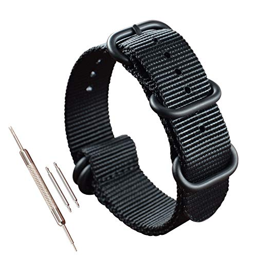 22mm Black NATO Zulu Watch Band Strap Replacement Military Woven Nylon Thick for Men 5 Rings