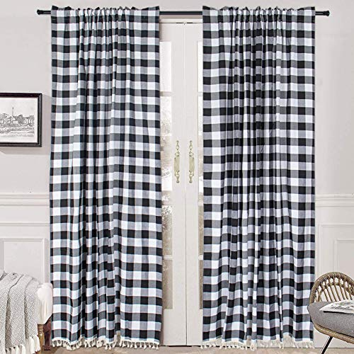 Black Buffalo Plaid Kitchen Curtains 2 Panels Farmhouse Checker Tassel Curtains Rod Pocket Blackout Curtains 63 Inch Length Room Darkening Window Curtains Buffalo Plaid Christmas Decorations
