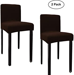 WOMACO Counter Height Chair Covers, Stretch Barstools Slipcover Protector Cafe Furniture Chair Seat Cover - 2 Pack, Coffee