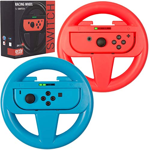 Orzly Steering Wheels for Nintendo Switch Joy-Cons, Racing Wheels for Mario Kart 8 Deluxe [Mariokart Switch Steering Wheel Joycon Controller Attachment Accessories] - TWIN PACK [1 x Red & 1 x Blue]