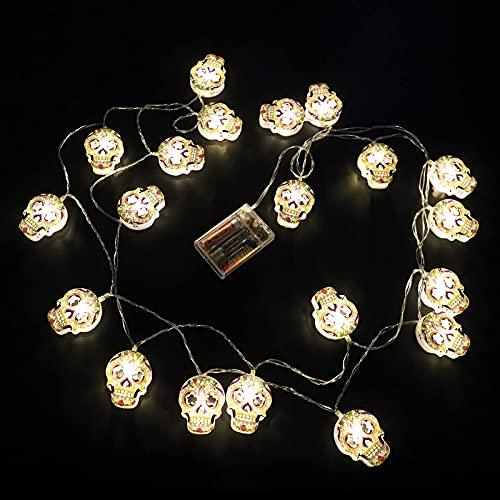 Luces de cadena Halloween,Hollow Skull Holiday 20 LED Cadena Luces hadas,jardín interior al aire libre de 9,8 pulgadas Iluminación decoración para jardín patio de fiesta (baterías no incluidas)