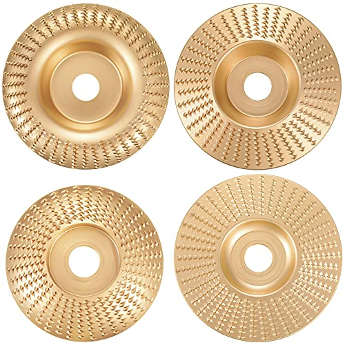 4 Pieces Tungsten Carbide Grinding Wheel Disc 5/8 Inch Bore Angle Grinder Wood Carving Disc Grinder Shaping Abrasive Disc Grinding Wheel Shaping Disc for Woodworking