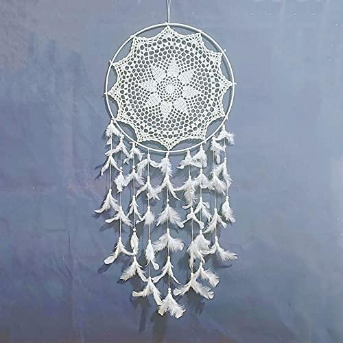 LHMYGHFDP Crochet Dream Catcher Handmade Pendant Hanging Wall Boho Decor Kids Bedroom Home Decoration Ornament Craft Wedding Gift