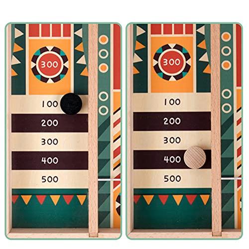 Fast Sling Puck Juego de madera competitiva mesa y bola pinball juego de mesa de puntuación diseño rompecabezas juego para niños