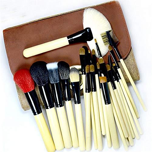 DDFHK Set de pinceaux à maquillage 26 pièces de bois, outils de beauté manche en bois noir, brun