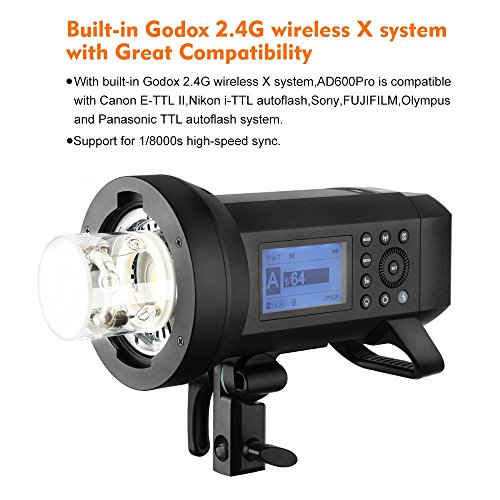Godox AD400Pro All-in-One Outdoor Flash Strobe, 400W 2.4G TTL Portable Speedlite with...