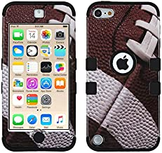 MYTURTLE iPod Touch 7th 6th 5th Generation Case Shockproof Hybrid Hard Silicone Shell Impact Cover with Screen Protector for iPod Touch 7 (2019), iPod Touch 5/6 (2015), Ball Sports Football