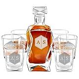 Murrano Whiskey Karaffe + 6er Whiskygläser Set mit Gravur - 700ml Whisky Dekanter - Geschenk zum Geburtstag für Damen - Initialien