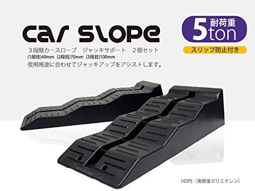 カースロープ 3段階式 耐荷重5トン 5t ラダーレール ガレージジャッキアップサポート カーランプ 2個セット スリップ防止付 60日保証付