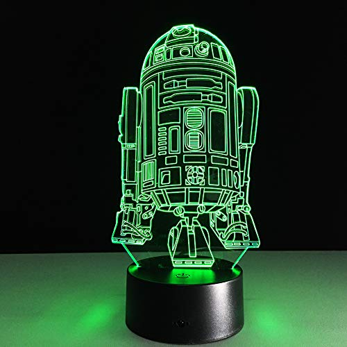 Colorful 3D Night Light Cool R2D2 Robot Novelty Night Light Led Bedside Lamp Table Desk Lampe Lamparas USB Nightlight Luminarias for Kids Gaming Christmas Gifts