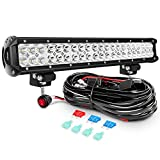 Nilight LED Light Bar 20Inch 126W Spot Flood Combo Led Off Road Lights with 16AWG Wiring Harness Kit-2 Lead, 2 Years Warranty