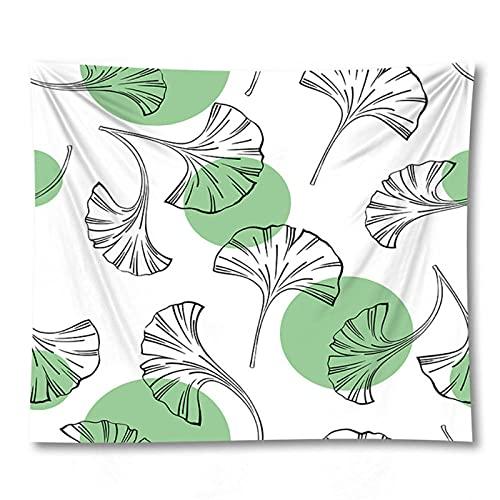Tapiz by BD-Boombdl Tapiz de pared de hoja de Ginkgo verde tela de poliéster decoración del hogar estera de Yoga cubierta de cama manta de alfombra 59.05'x51.18'Inch(150x130 Cm)