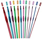 Ncheli 12 pcs Multicolor Ganchillo de Aluminio,Agujas de Ganchillos Kit 2mm-8mm Agujas de Punto Coloridas Agujas de Ganchillos Kit para tejer suéteres, bufandas, sombreros.