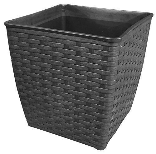 Dehner Vaso in plastica, ca. 32x 32x 32cm, Effetto polirattan, Nero