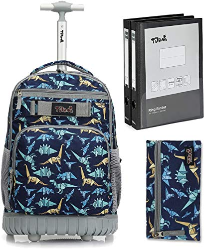 Tilami Rolling Backpack 18 inch Binder and Pencil Case Laptop Backpack, Dinosaur