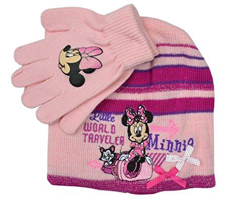 Minnie Maus Mütze und Handschuhe Set für Kinder Gr. 52, rose