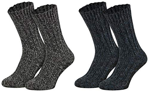 2 Paar ABS Norwegersocken Schafwolle Wintersocken gestrickt Haussocken mit Noppen Wollsocken Damen Herren blau-anthrazit melange 43 44 45 46