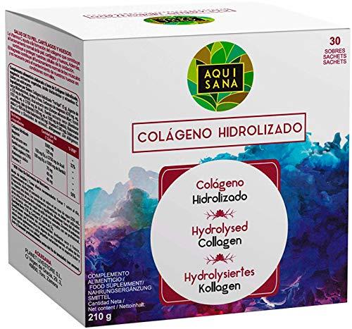 Colágeno con Magnesio | Colágeno Hidrolizado con Ácido Hialurónico y Vitamina C | Para Una Piel Radiante y Un Buen Mantenimiento las Articulaciones - 30 sobres - Aquisana