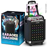 Karaoke Machine for Adults and Kids, Bluetooth Portable Singing PA Speaker System + 2 Wireless Dual Microphones + Disco Lights + TV Cable for Boys & Girls (Soprano, X1 Black)
