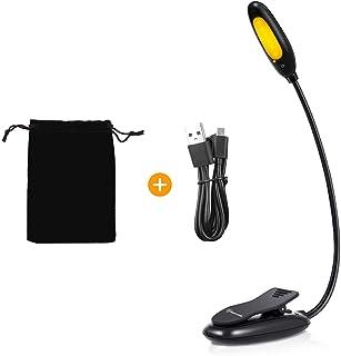 Luz de Lectura para Libros, Luz Azul Techgomade con Clip de Bloqueo de Luz USB Recargable, 3 Modos de Brillo para el Cuidado de Los Ojos, 6 LED 1800 K luz Cálida ámbar para Leer en la Cama, Kindle