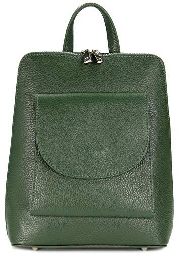 Belli Denver Women's Medium Italian Leather Backpack Rucksack Handbag Cross Body Bag 3in1 23 x 28 x 8 cm (W x H x D), Green (Green) - 681