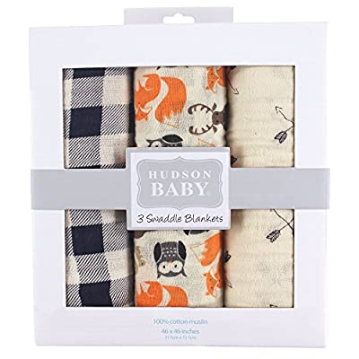 Hudson Baby Unisex Baby Cotton Muslin Swaddle Blankets, Forest, One Size