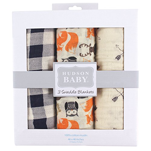 Hudson Baby Unisex Baby Cotton Muslin Swaddle Blankets, Forest 3-Pack, One Size