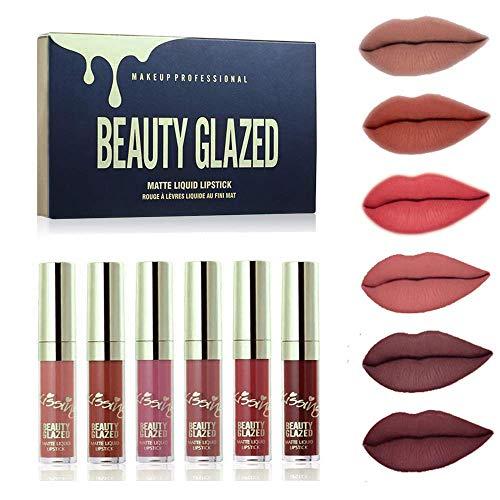 Beauty Glazed 6 Farben Matt Lippenstift Set Wasserdicht Langlebig Lipgloss Nude Samt Pigment Batom...