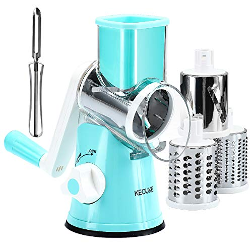 KEOUKE Rotary Cheese Grater Slicer  Round Mandoline Drum Slicer Manual Vegetable Slicer with a Stainless Steel peeler Blue