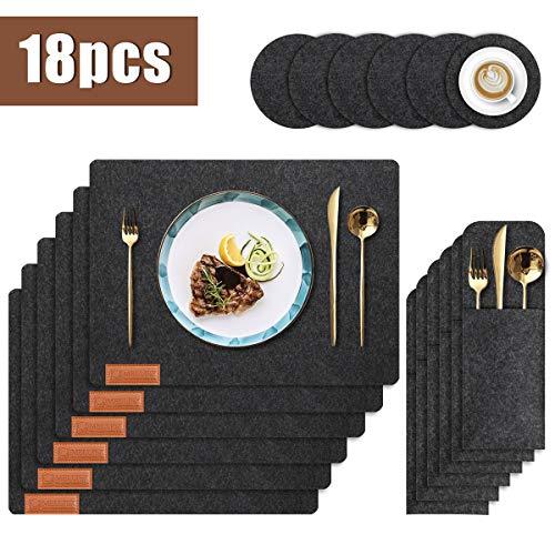 Abwischbar Platzset aus Filz, 6 Sätze Abwaschbar Tischset Platzdeckchen mit Filzuntersetzerund Bestecktaschen für Küche Speisetisch