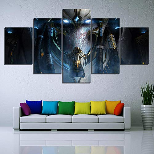 SILUYU 5 Piezas HD Fantasy Art Game Poster Paintings Starcraft 2 Legacy of The Void Videojuegos Poster Canvas Wall Art Decor Marco Talla Pequeña