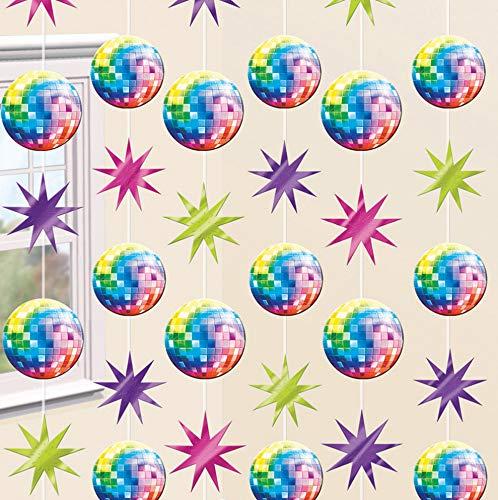 6-TLG. Decken-Deko * Disco Fever * zum Geburtstag, Party oder Disko | jeder String ist 2,1m lang | Hängedeko Set