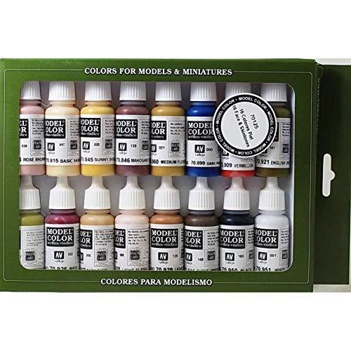 Vallejo Face/Skin Colors Paint Set, 16-Colors, 17ml