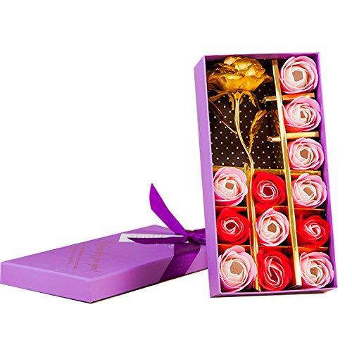 Juego de 12 flores de jabón de baño con aroma de rosa y una flor dorada de Keyrivs, regalo ideal para aniversarios, cumpleaños, bodas, día de San Valentín, Día de la Madre