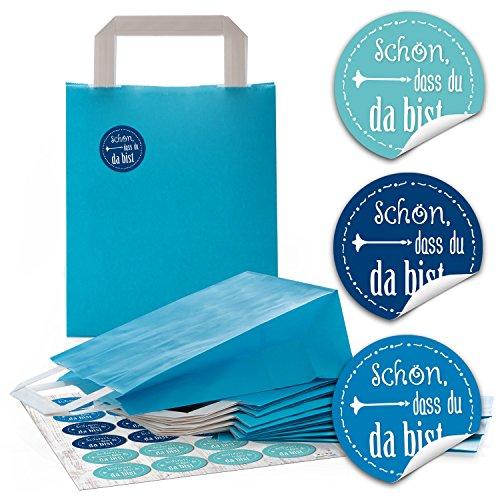 24 blaue Papiertüten Papier-Tragetaschen Geschenktüte Boden 18 x 8 x 22 cm kleine Papiertaschen + 24 runde Aufkleber 4 cm blau türkis SCHÖN DASS DU DA BIST Verpackung Geschenke