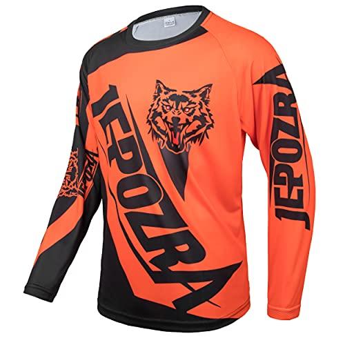 JEPOZRA Maglia Ciclismo Uomo Downhill Asciugatura Rapida Abbigliamento Sportivo Maniche Lunghe Traspirante Moto Jersey Racewear Palestra Unisex-Adulto (Arancione, L)