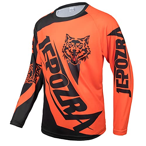 JEPOZRA Maglia Ciclismo Uomo Downhill Asciugatura Rapida Abbigliamento Sportivo Maniche Lunghe Traspirante Moto Jersey Racewear Palestra Unisex-Adulto (Arancione, XL)