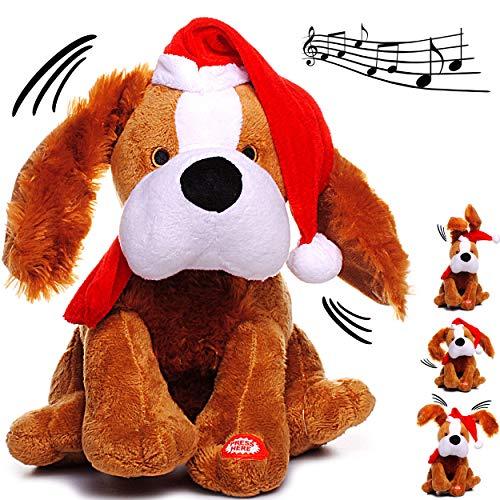 alles-meine.de GmbH XL - singender & Tanzender - Hund - Jingle Bells - Plüschtier mit Sound & Bewegung - 26 cm - aus Stoff / Plüsch - Weihnachtsmann / Weihnachtshund / Welpe - Ti..