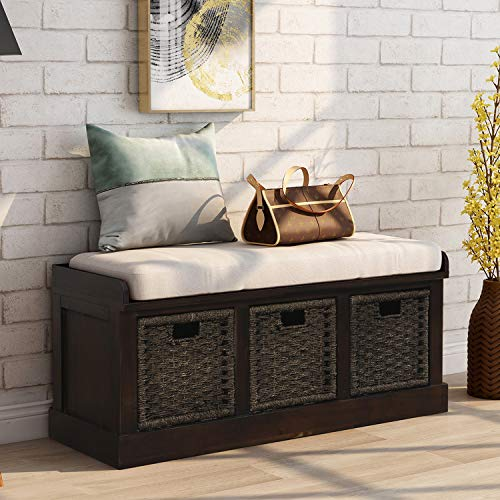 Storage Bench Wicker Storage Bench with 3 Woven Baskets and Removable Cushion, Wood Entryway Shoe Bench for Hallway, Entryway, Bedroom and Living Room, Espresso