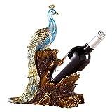 QZH Estante para Copas de Vino Pavo Real Estante para Vino Decoración Accesorios para el hogar Sala de Estar Mesa de Comedor Decoraciones para gabinetes de Vino Muebles Familiares Artesanía