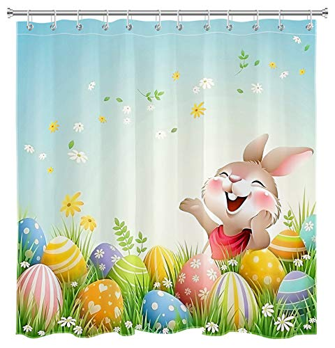ECOTOB Spring Holiday Funny Easter Bunny Shower Curtain for Bathroom, Cartoon Rabbit with Easter Eggs in Green Grass Bathroom Accessories Fabric Bathroom Curtain with Shower Curtain Hooks, 72x72 inch