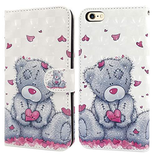 Ailisi Cover iPhone 6 6S, 3D Flip Cover Cartoon cute love heart Teddy Bear Custodia Protettiva Caso Libro Pelle PU con Portafoglio, Funzione Supporto, Chiusura Magnetica
