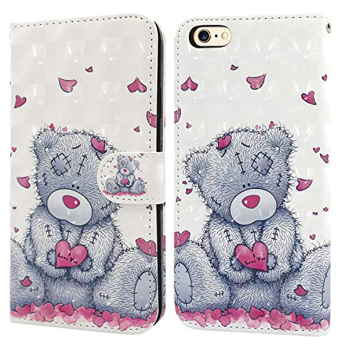 iPhone 6 Case,iPhone 6S Case, Ailisi 3D visual Cute Love heart Teddy bear Leather wallet flip case magnetic protective cover with shockproof TPU, Stand function Card Slots +1 pcs Lanyard Strap