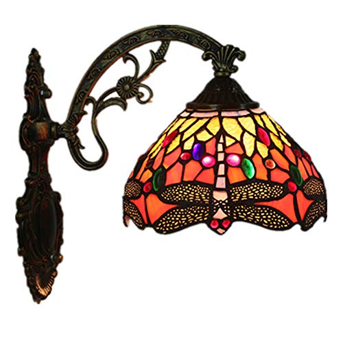 XNCH Tiffany Vintage Style Sconces Wall Lighting Wall Lights Fixtures Decorated with Dragonfly Pattern Handmade Stained Glass Wall Lamp for Farmhouse Bathroom Porch,F
