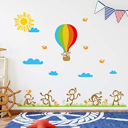 Zyzdsd Affe Heißluftballon Wandaufkleber Für Kinder Kinderzimmer Hintergrund Dekoration Kinderzimmer Wandbild Tapete Kunst Aufkleber Aufkleber