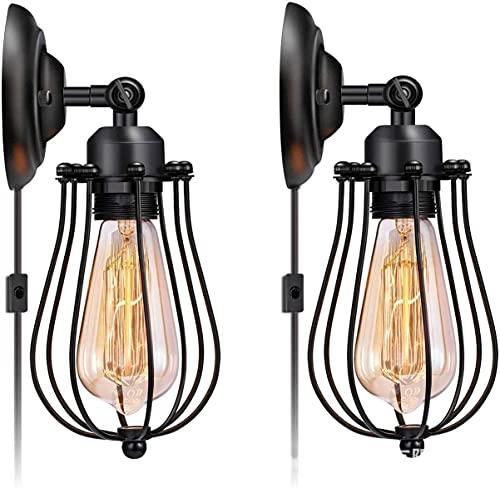 Conjunto de lámparas de pared de luz retro, páginas de jaula de alambre industrial con interruptor de enchufe y encendido/apagado, enchufe de vintage negro en luces de pared para sala de estar de do