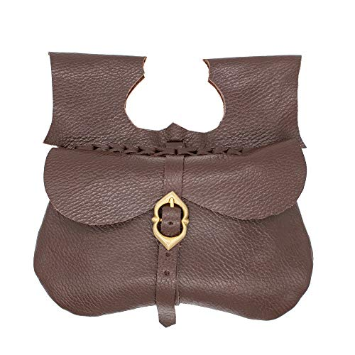 Mythrojan Leather Medieval Pirate Hip Pouch Larp Cosplay Coin Purse Bag – Brown