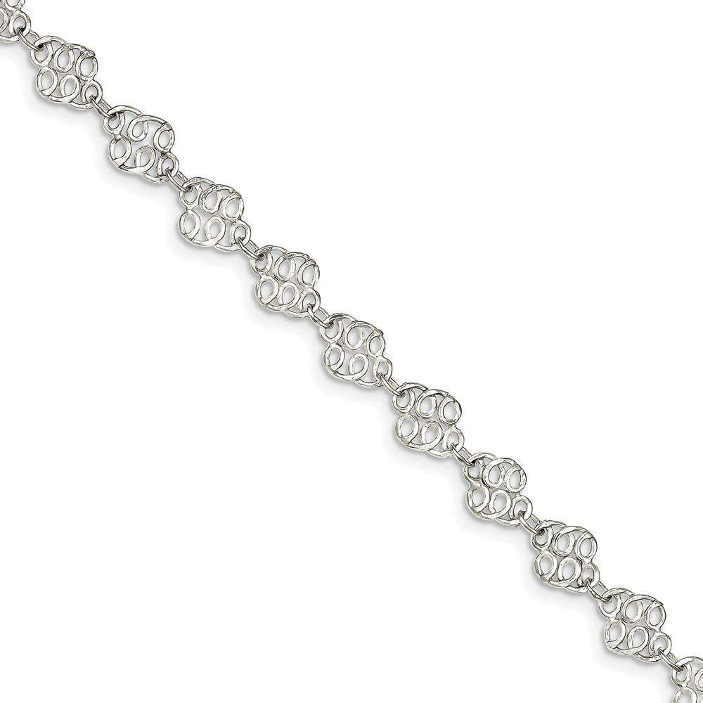 7mm Solid 925 Sterling Silver 10inch Fancy Polished